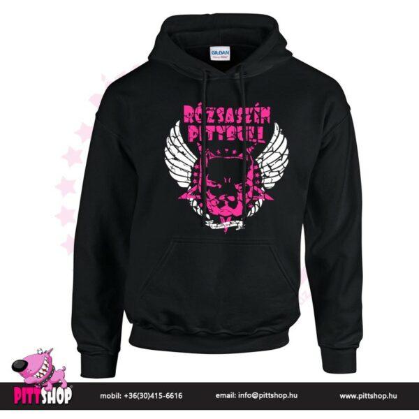 Rózsaszín Pittbull kapucnis pulóver szárnyas mintával